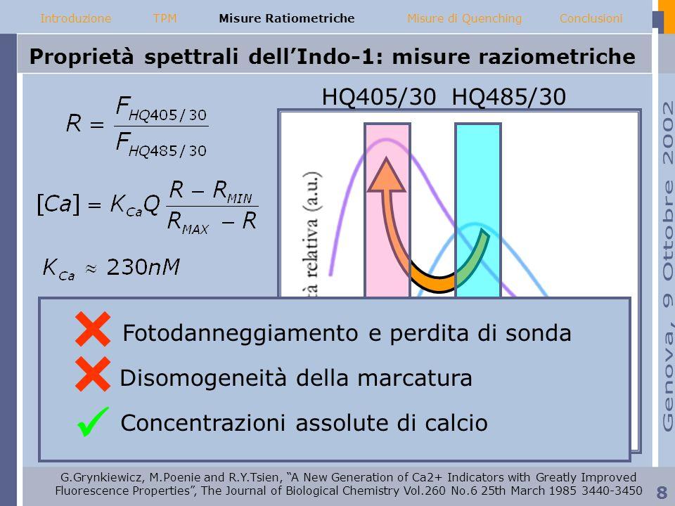 Proprietà spettrali dell'Indo-1: misure raziometriche