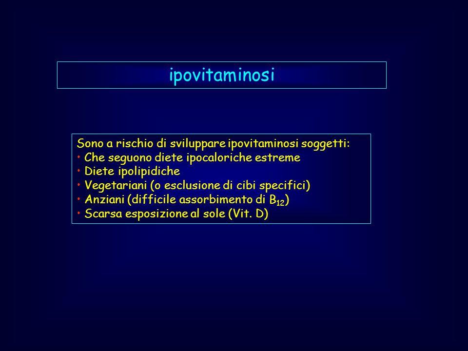 ipovitaminosi Sono a rischio di sviluppare ipovitaminosi soggetti: