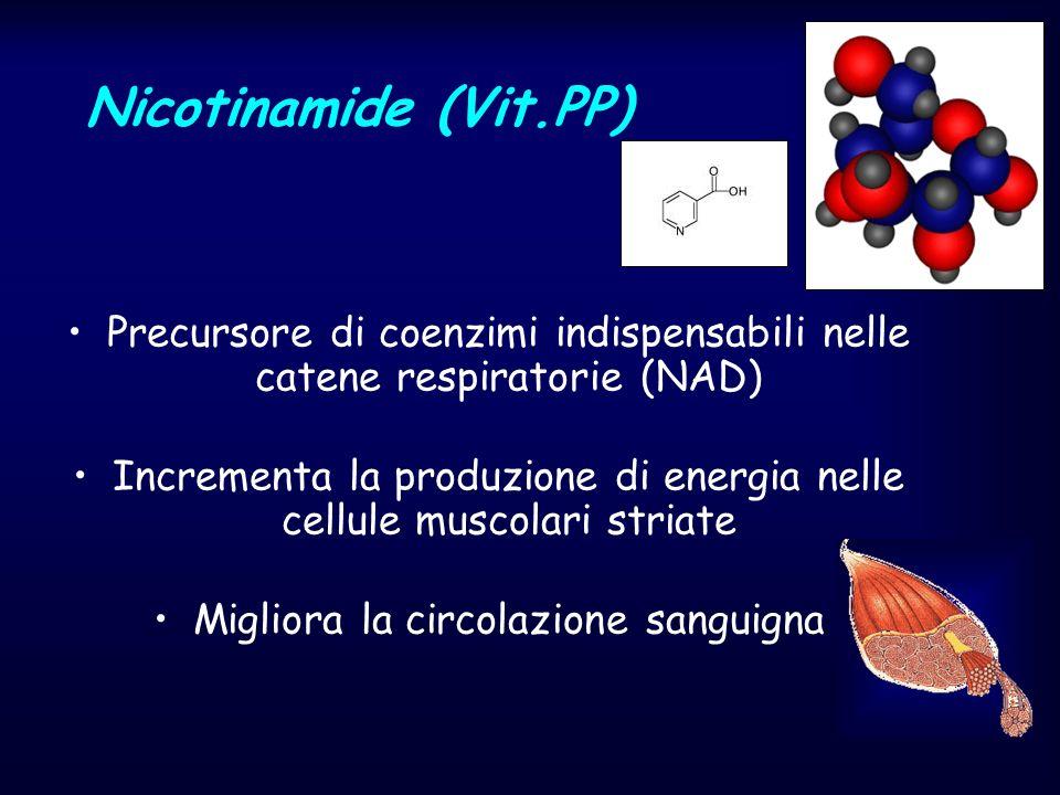 Nicotinamide (Vit.PP) Precursore di coenzimi indispensabili nelle catene respiratorie (NAD)
