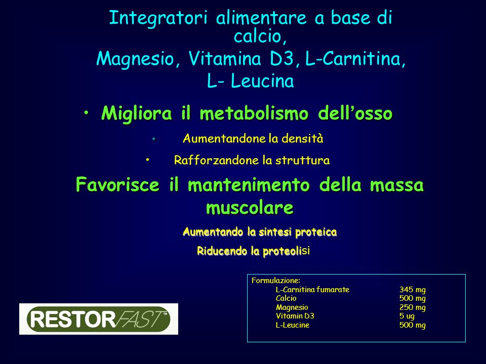 Integratori alimentare a base di calcio,