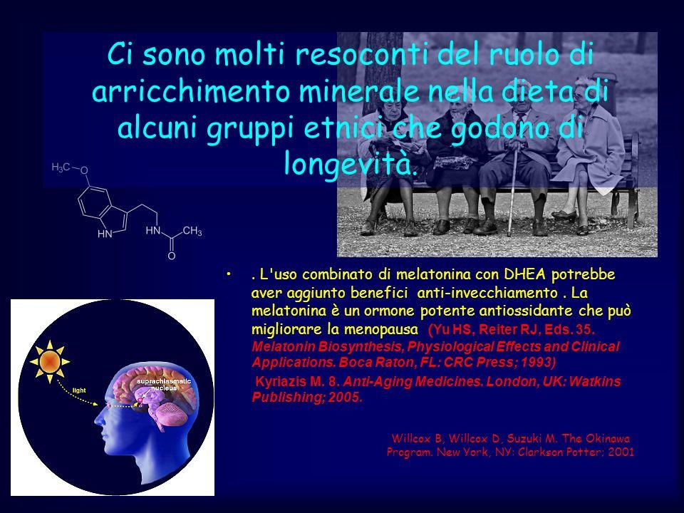 Ci sono molti resoconti del ruolo di arricchimento minerale nella dieta di alcuni gruppi etnici che godono di longevità.