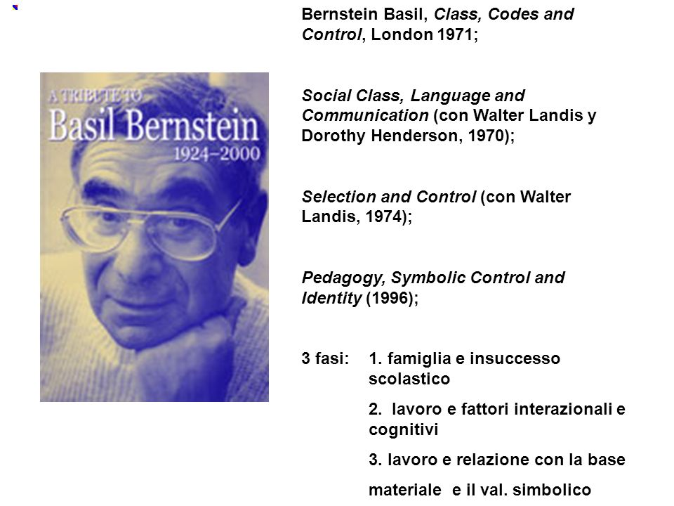 Bernstein Basil, Class, Codes and Control, London 1971; Social Class, Language and Communication (con Walter Landis y Dorothy Henderson, 1970);