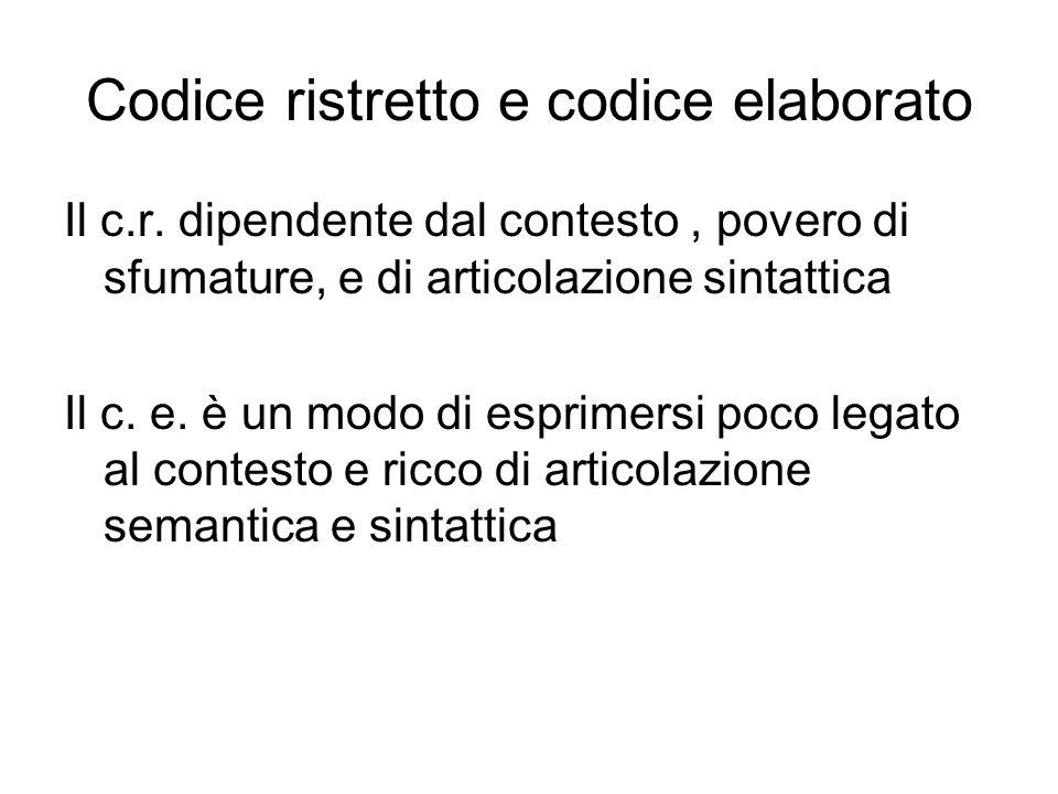 Codice ristretto e codice elaborato