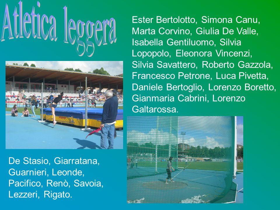 Atletica leggera Ester Bertolotto, Simona Canu, Marta Corvino, Giulia De Valle, Isabella Gentiluomo, Silvia Lopopolo, Eleonora Vincenzi,