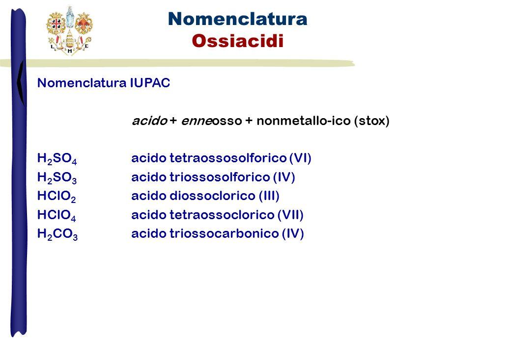 Nomenclatura Ossiacidi Nomenclatura IUPAC