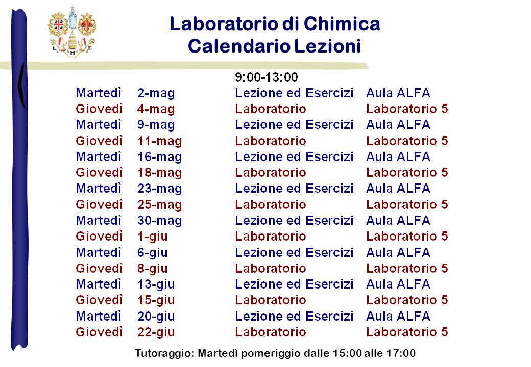 Laboratorio di Chimica Calendario Lezioni