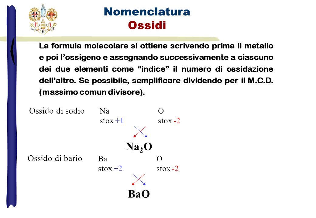 Nomenclatura Ossidi Na2 O1 Na2 O1 Na2O Ba2 O2 Ba2 O1 BaO