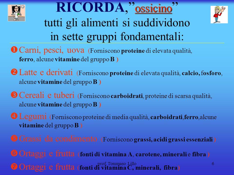 RICORDA, ossicino tutti gli alimenti si suddividono in sette gruppi fondamentali: