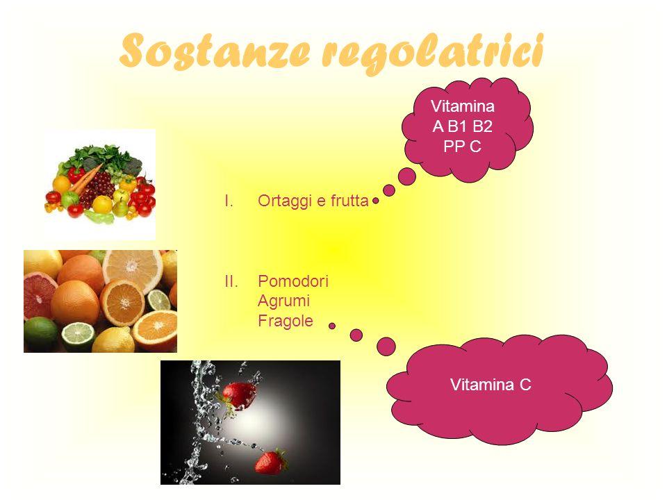 Sostanze regolatrici Vitamina A B1 B2 PP C Ortaggi e frutta