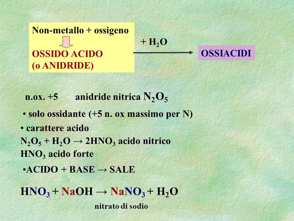 HNO3 + NaOH → NaNO3 + H2O nitrato di sodio Non-metallo + ossigeno