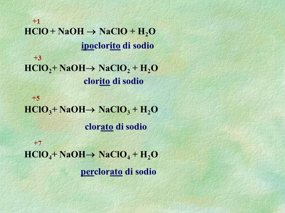 HClO + NaOH  NaClO + H2O ipoclorito di sodio