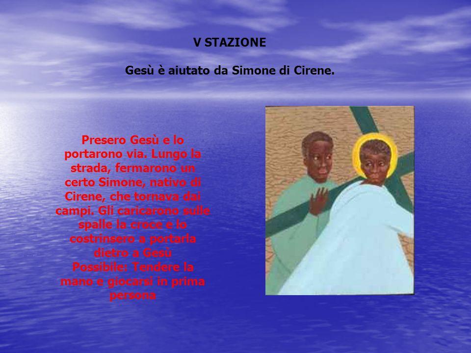 Gesù è aiutato da Simone di Cirene.