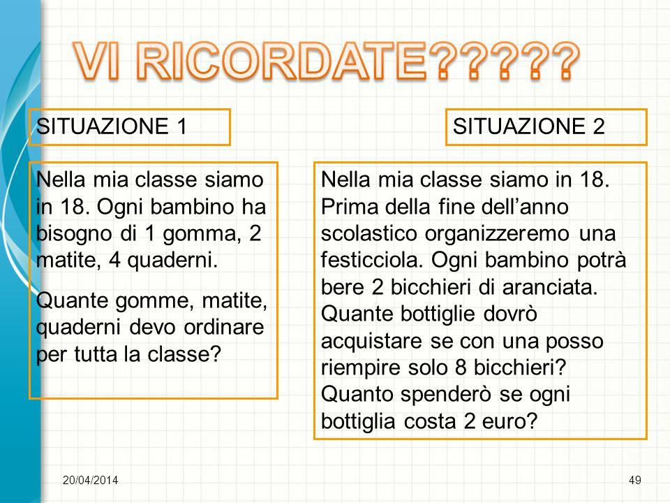VI RICORDATE SITUAZIONE 1 SITUAZIONE 2