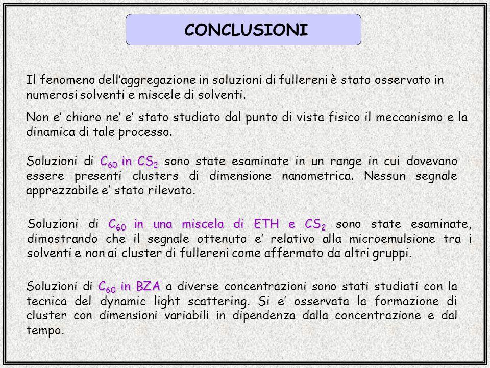 CONCLUSIONI Il fenomeno dell'aggregazione in soluzioni di fullereni è stato osservato in numerosi solventi e miscele di solventi.