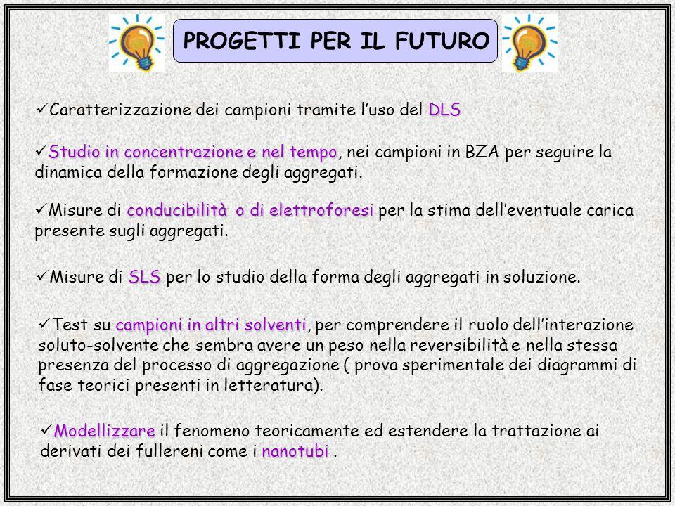 PROGETTI PER IL FUTURO Caratterizzazione dei campioni tramite l'uso del DLS.