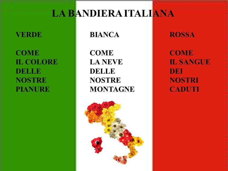 LA BANDIERA ITALIANA VERDE COME IL COLORE DELLE NOSTRE PIANURE BIANCA