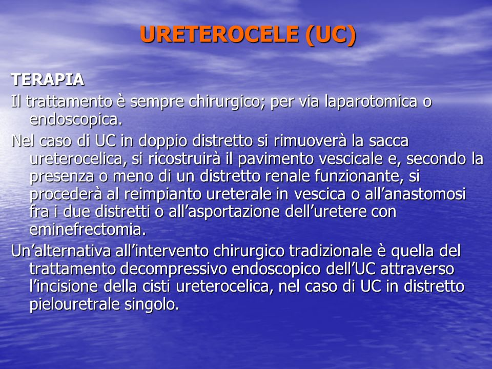 URETEROCELE (UC) TERAPIA