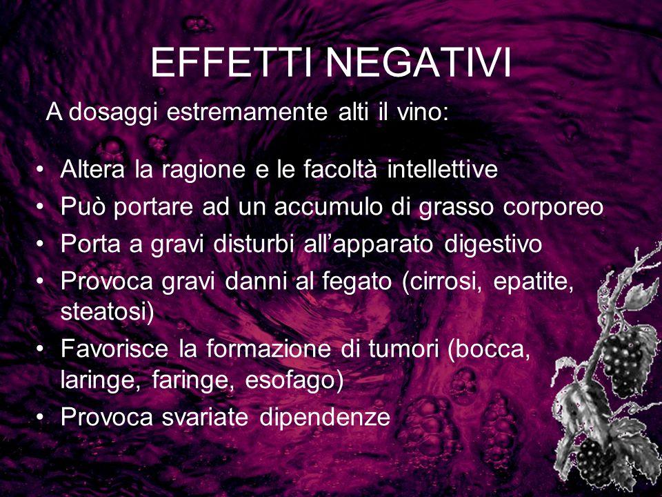 EFFETTI NEGATIVI A dosaggi estremamente alti il vino:
