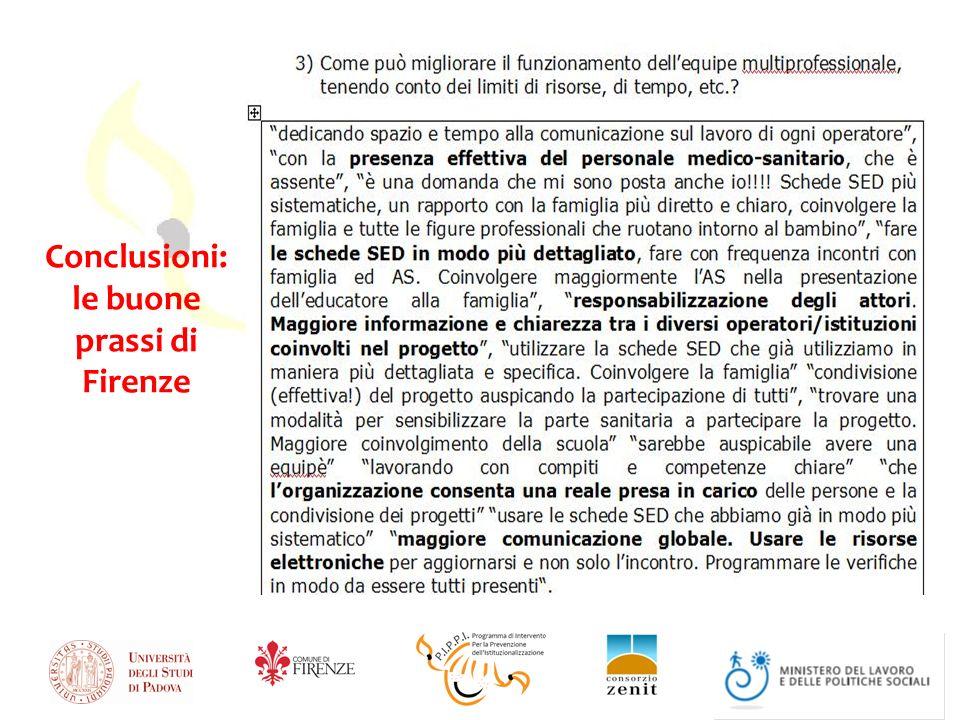 Conclusioni: le buone prassi di Firenze