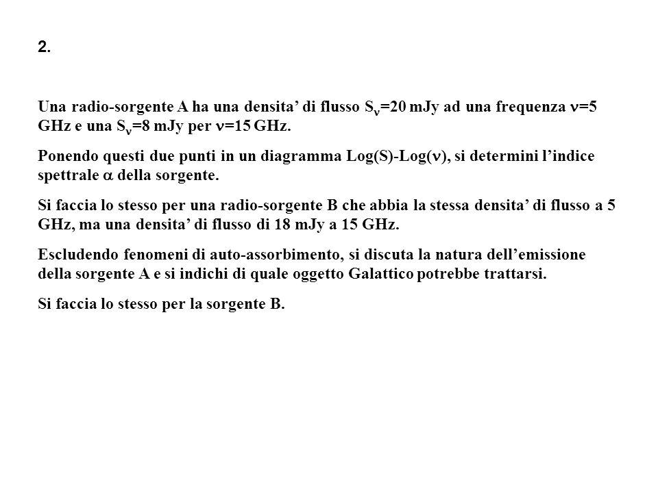 Una radio-sorgente A ha una densita' di flusso S=20 mJy ad una frequenza =5 GHz e una S=8 mJy per =15 GHz.