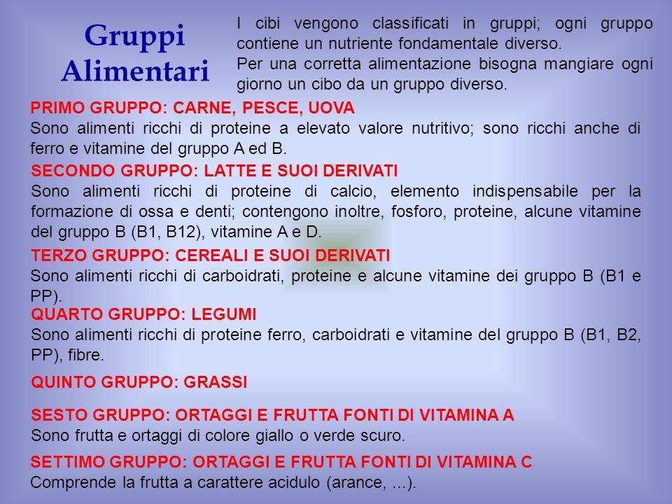 I cibi vengono classificati in gruppi; ogni gruppo contiene un nutriente fondamentale diverso.