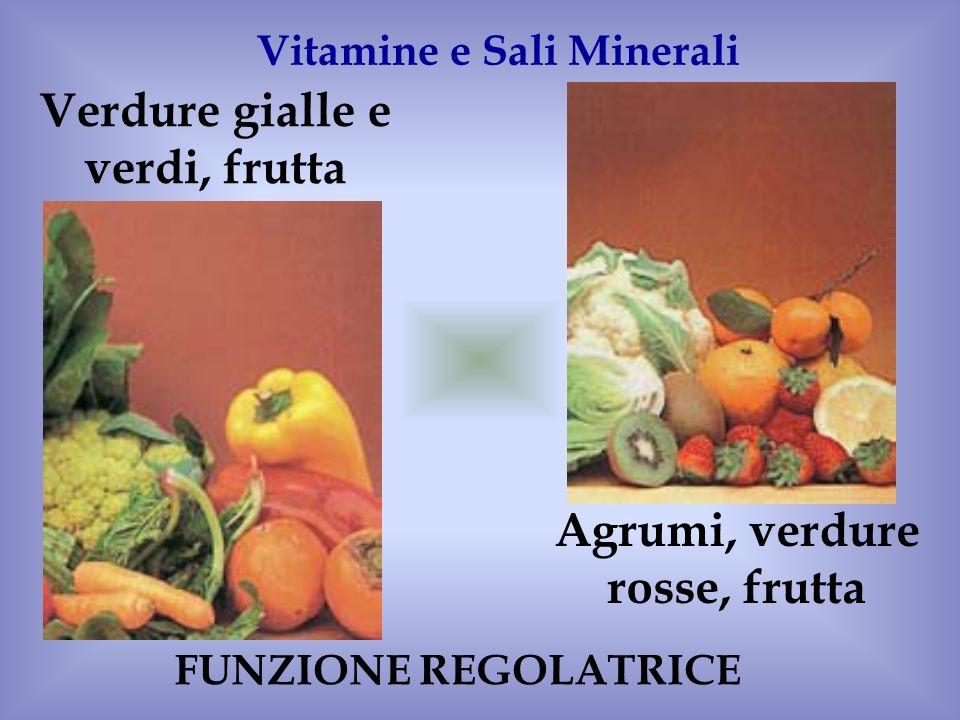 Verdure gialle e verdi, frutta Agrumi, verdure rosse, frutta