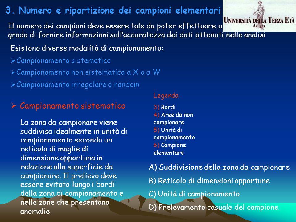 3. Numero e ripartizione dei campioni elementari o sub-campioni