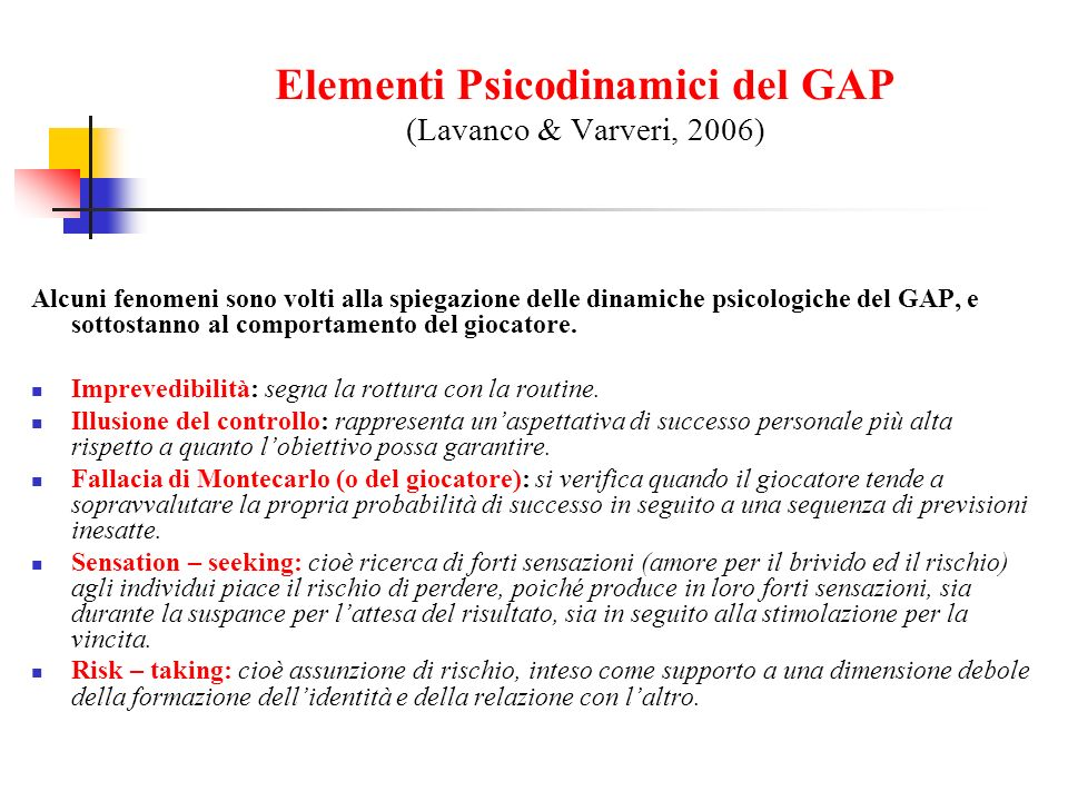 Elementi Psicodinamici del GAP (Lavanco & Varveri, 2006)