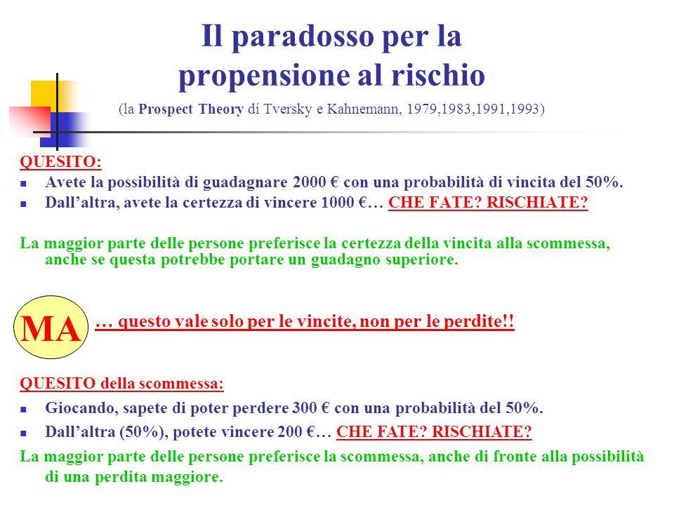 Il paradosso per la propensione al rischio (la Prospect Theory di Tversky e Kahnemann, 1979,1983,1991,1993)