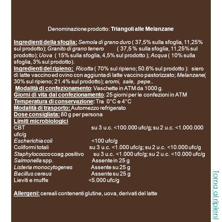Denominazione prodotto: Triangoli alle Melanzane
