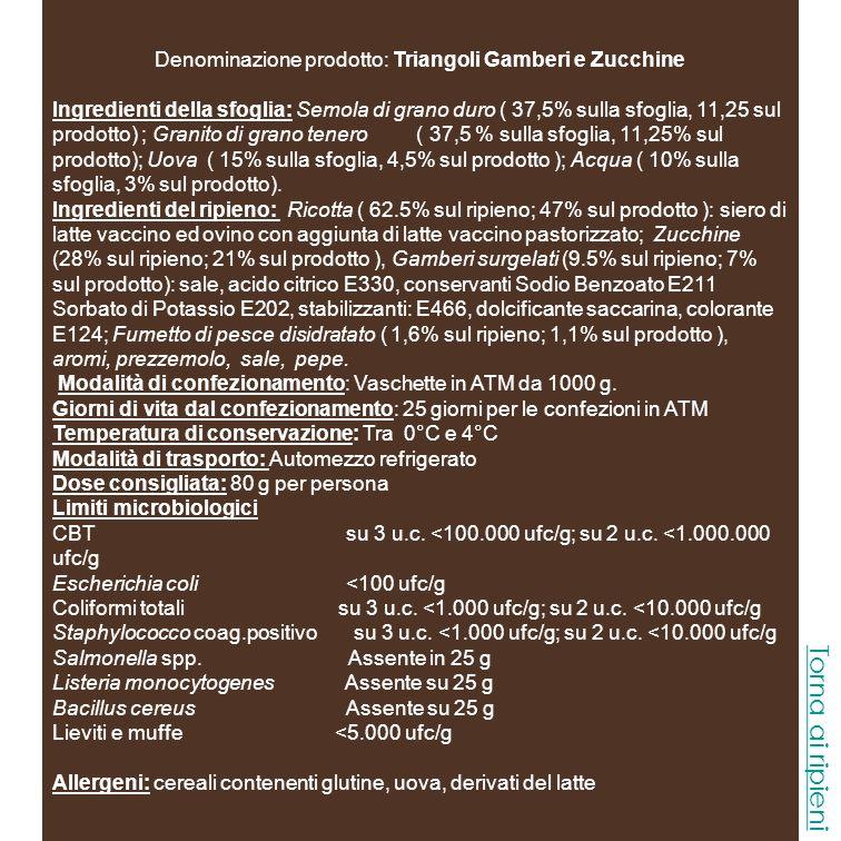 Denominazione prodotto: Triangoli Gamberi e Zucchine