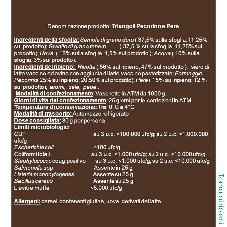 Denominazione prodotto: Triangoli Pecorino e Pere