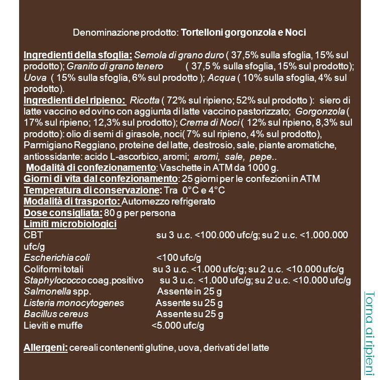 Denominazione prodotto: Tortelloni gorgonzola e Noci