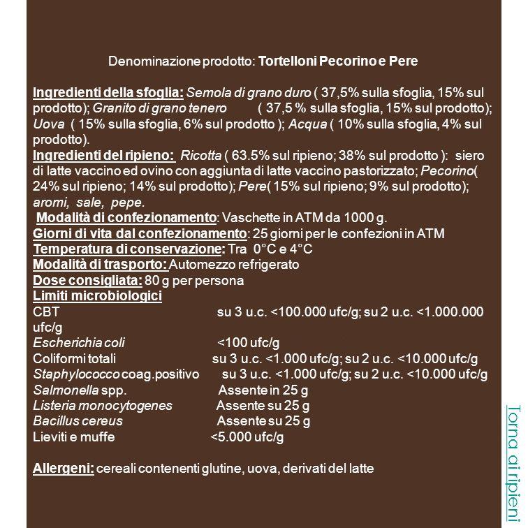 Denominazione prodotto: Tortelloni Pecorino e Pere