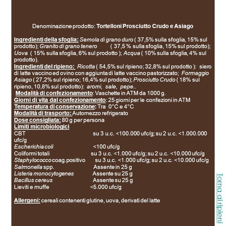 Denominazione prodotto: Tortelloni Prosciutto Crudo e Asiago