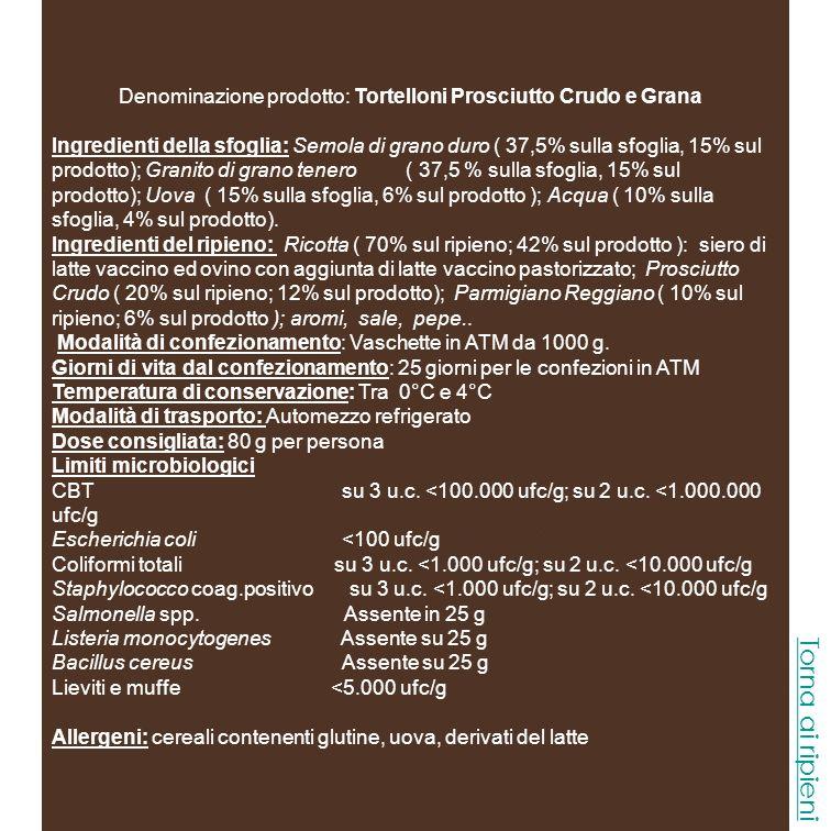 Denominazione prodotto: Tortelloni Prosciutto Crudo e Grana
