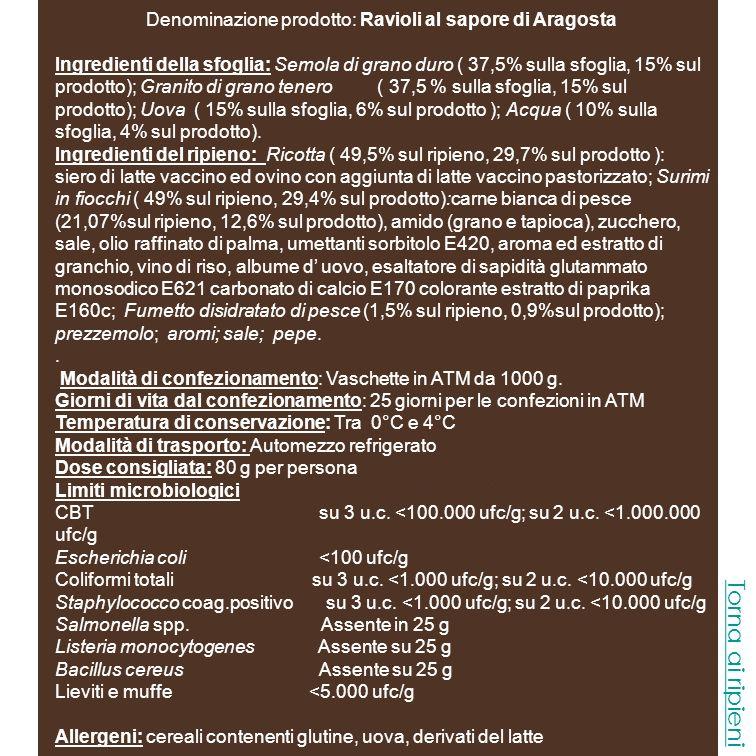 Denominazione prodotto: Ravioli al sapore di Aragosta