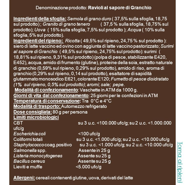 Denominazione prodotto: Ravioli al sapore di Granchio