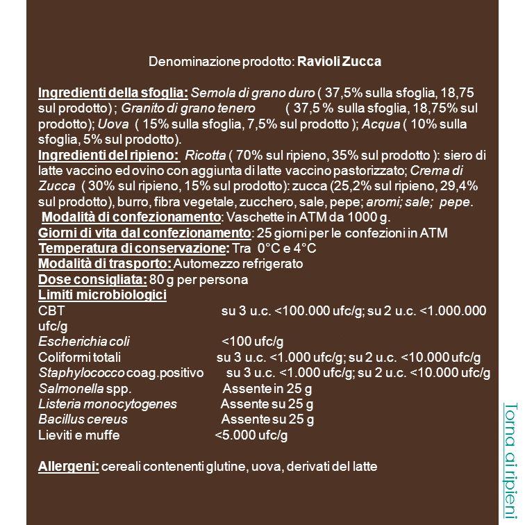 Denominazione prodotto: Ravioli Zucca