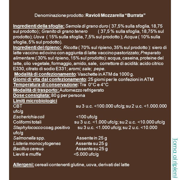 Denominazione prodotto: Ravioli Mozzarella Burrata