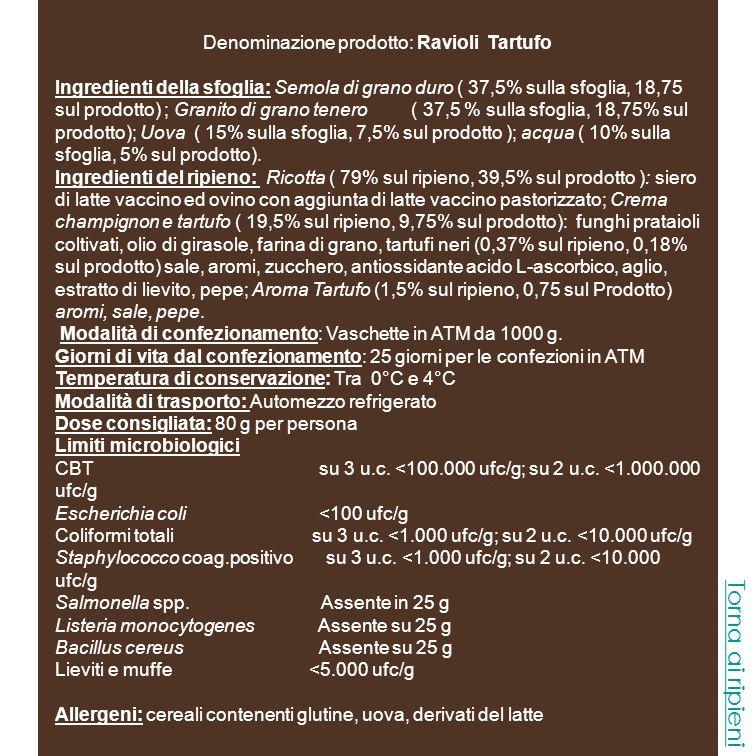 Denominazione prodotto: Ravioli Tartufo