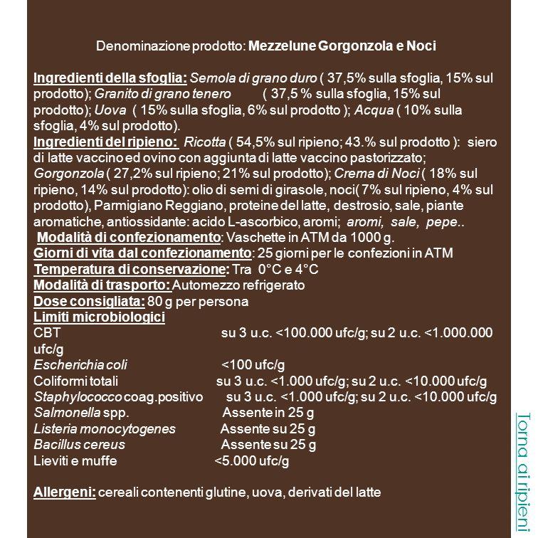 Denominazione prodotto: Mezzelune Gorgonzola e Noci