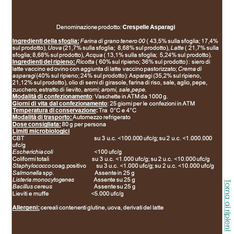Denominazione prodotto: Crespelle Asparagi