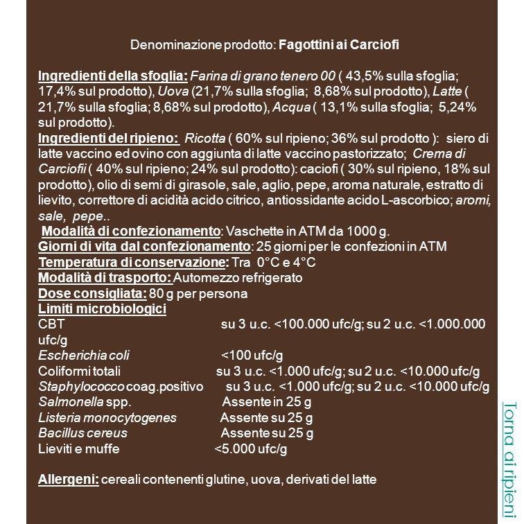 Denominazione prodotto: Fagottini ai Carciofi