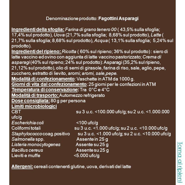 Denominazione prodotto: Fagottini Asparagi
