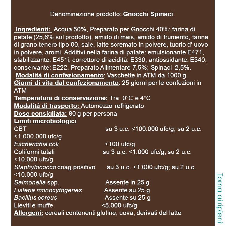 Denominazione prodotto: Gnocchi Spinaci