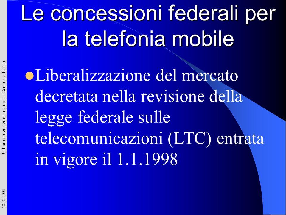Le concessioni federali per la telefonia mobile