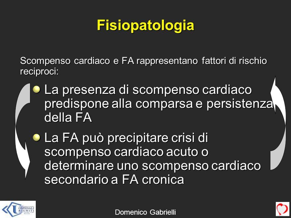 Fisiopatologia Scompenso cardiaco e FA rappresentano fattori di rischio reciproci: