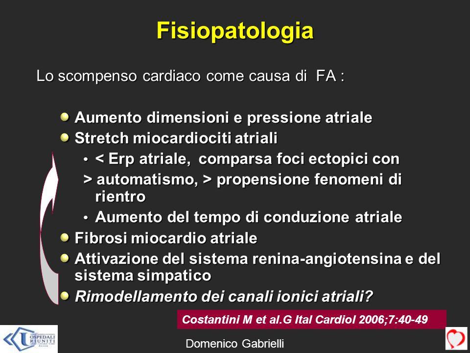 Fisiopatologia Lo scompenso cardiaco come causa di FA :