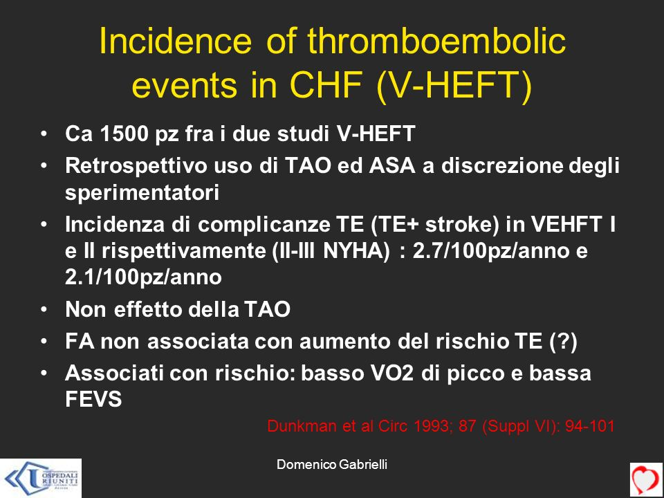 Incidence of thromboembolic events in CHF (V-HEFT)
